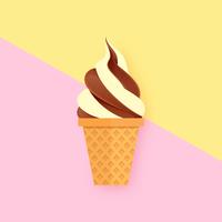 Crème glacée molle tordue sur fond pastel vecteur