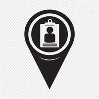 Icône de carte d'identité de pointeur de carte vecteur