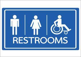 Symbole de toilettes homme, femme et icône de handicap en fauteuil roulant vecteur