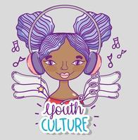 Caricature de la femme millénaire de la culture de la jeunesse vecteur