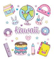 Ensemble de dessins animés kawaii vecteur