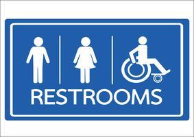 Symbole de toilettes homme, femme et icône de handicap en fauteuil roulant