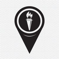 Icône de carte de pointeur de la flamme