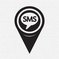 Icône de pointeur de carte SMS vecteur