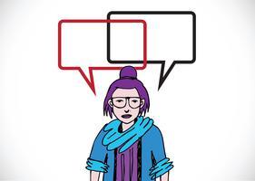 Les gens qui pensent et les gens qui parlent avec des bulles de dialogue vecteur