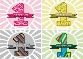 Le numéro un et le gagnant place d'abord signe simbol avec des rubans vecteur