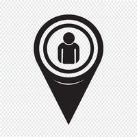 Icône de personne pointeur de carte vecteur