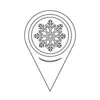 Carte Pointeur Flocon De Neige Icône vecteur