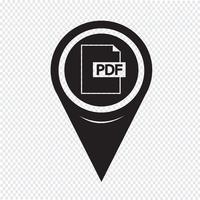 Pointeur de carte PDF Icon vecteur