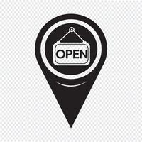 Icône de pointeur de carte ouverte vecteur