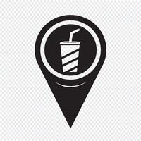 Icône de boisson de pointeur de carte