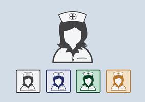 Infirmières icônes symbole signe vecteur