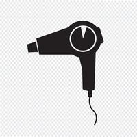 signe de symbole icône sèche-cheveux vecteur