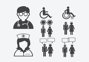 Médecin Infirmière Patient Malade Icône Signe Symbole Pictogramme