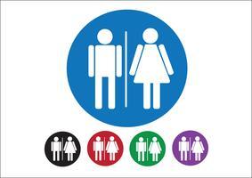 Pictogramme homme femme signe icône, signe de toilettes ou icône de toilettes
