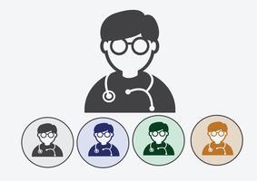 Docteur avec l'icône web stéthoscope