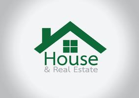 Icône de la maison et dessin abstrait de l'immeuble vecteur