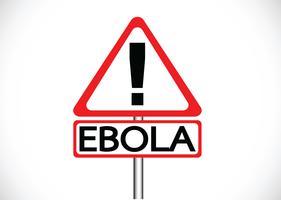 Un point d'exclamation sur la route met en garde sur le concept de virus Ebola vecteur