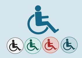 Conception d'icônes d'handicap en fauteuil roulant vecteur