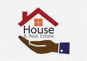 Icône de main et à la maison concept immobilier
