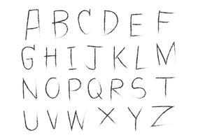 Alphabet de lettres dessiné à la main écrit avec une brosse