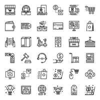 Icône de contour des achats en ligne vecteur