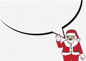Père Noël pour Noël dessiné à la main et parler de bulle vecteur