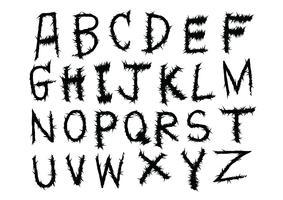 Alphabet de lettres dessiné à la main écrit avec une brosse vecteur