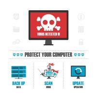 virus détecté infographique vecteur