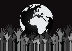 Main tenant l'idée de mains monde et globe
