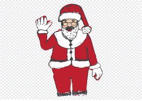 Père Noël pour Noël dessiné à la main vecteur