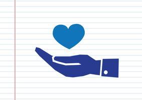 Pictogramme main et coeur