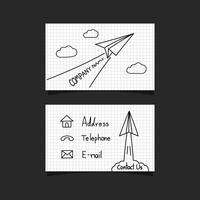 carte de visite avion en papier