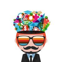 homme hipster pensant vecteur