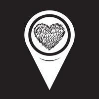 Icône de coeur de pointeur de carte