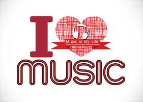 j'aime la musique et la musique est ma vie type de police mot avec des signes conception idée vecteur
