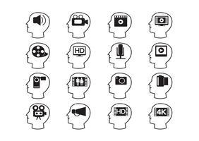 Têtes de pensée et icônes multimédias de films vidéo