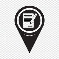 Carte Pointeur Crayon Icône Et Notebook Icon vecteur