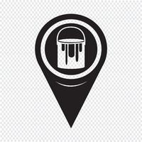 icône de la peinture de pointeur de carte peut vecteur