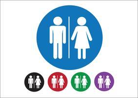 Pictogramme homme femme signe icône, signe de toilettes ou icône de toilettes vecteur