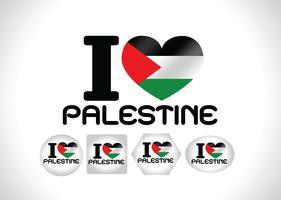 Coeur et j'aime la conception d'idées de drapeau de la bande de Gaza