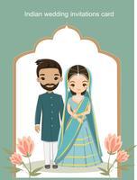 Adorables mariés indiens en costume traditionnel pour carte d'invitations de mariage vecteur
