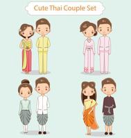 Collection de personnages de dessin animé mignon couple thaïlandais vecteur
