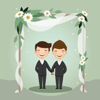Couple LGBT mignon pour carte d'invitation de mariage vecteur