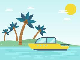 Vacances d'été, bateau à moteur voyageant dans la mer