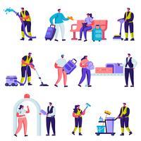Ensemble de touristes plats et personnel de service de nettoyage dans les personnages de l'aéroport. Personnages de la bande dessinée voyageant outils, bagages, chariot et smartphones, matériel de nettoyage. Illustration vectorielle