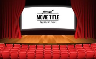 scène avec rideau rouge et plancher en bois et sièges rouges vides