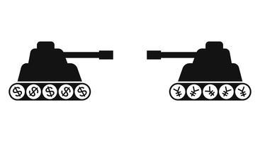 Silhouette de deux chars face à face vecteur