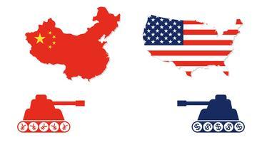Carte des États-Unis et de la Chine avec le char face à face