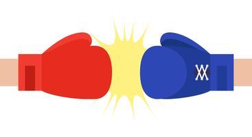 Illustration vectorielle de gants de boxe rouges et bleus